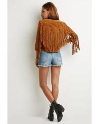 Forever 21 | Natural Genuine Suede Fringe Jacket | Lyst