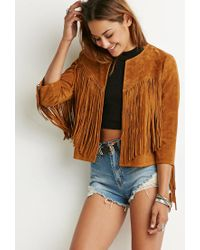 Forever 21 | Brown Genuine Suede Fringe Jacket | Lyst