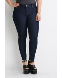 Forever 21 - Blue Plus Size Classic Skinny Jeans (short) - Lyst