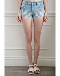 Forever 21 | Blue Ripped Denim Shorts | Lyst