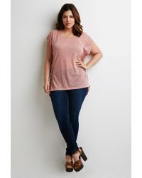 Forever 21 - Purple Plus Size Embroidered-mesh Slub Knit Top - Lyst