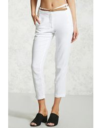 Forever 21 - White Belted Woven Pants - Lyst