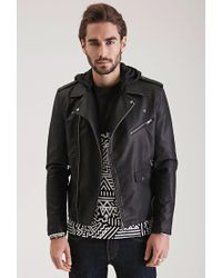 Forever 21 | Black Hooded Faux Leather Moto Jacket for Men | Lyst