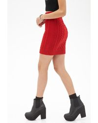 Forever 21 - Red Cable Knit Skirt - Lyst