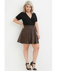 9220a615731 Lyst - Forever 21 Plus Size Faux Leather Skater Skirt in Brown