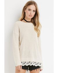 Forever 21 | Natural Scalloped Lace-hem Sweater | Lyst