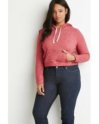 Forever 21 - Red Plus Size Contrast-lined Drawstring Hoodie - Lyst
