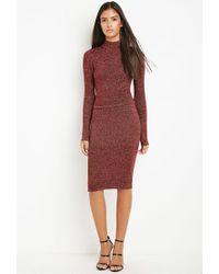 Forever 21 - Red Metallic Knit Sweater Skirt - Lyst