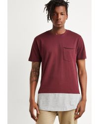Forever 21 | Red Colorblock Longline Tee for Men | Lyst