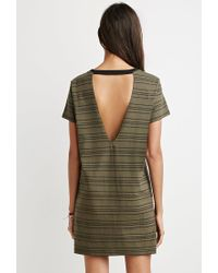 Forever 21 - Green Cutout-back Striped T-shirt Dress - Lyst