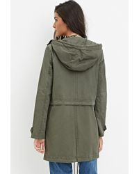 Forever 21 - Green Longline Hooded Utility Jacket - Lyst