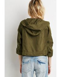 Forever 21 | Green Boxy Hooded Utility Jacket | Lyst