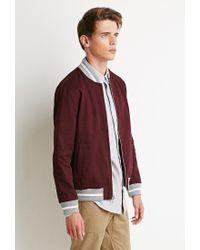 Forever 21 - Purple Zip-front Varsity Jacket for Men - Lyst