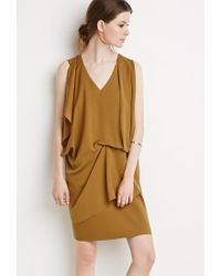 Forever 21 | Brown Drapey Shift Dress | Lyst