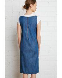 Forever 21 - Blue Zippered-back Denim Dress - Lyst