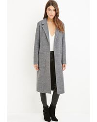Forever 21 - Gray Collared Longline Overcoat - Lyst