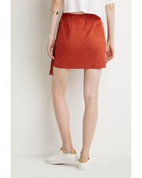 Forever 21 - Orange Contemporary Fringed Faux Suede Skirt - Lyst