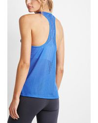 Forever 21 - Blue Active Perforated Mesh Tank - Lyst