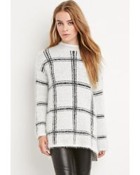 Forever 21 - White Eyelash Knit Plaid Sweater - Lyst