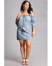 Forever 21 - Blue Plus Size Denim Pom Pom Dress - Lyst