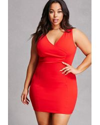 Forever 21 - Red Plus Size Surplice Ruched Dress - Lyst