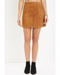 Forever 21 - Orange Button-front Corduroy Skirt - Lyst