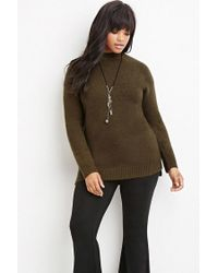 Forever 21 - Green Plus Size Longline Fuzzy Sweater - Lyst