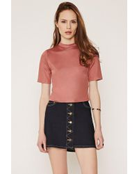 Forever 21   Pink Contemporary Boxy Mock Neck Top   Lyst