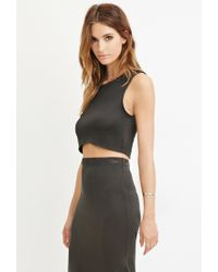 Forever 21   Gray Curved-hem Crop Top   Lyst