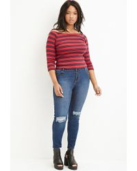 Forever 21 - Red Striped Off-the-shoulder Top - Lyst