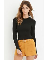 Forever 21 | Black Ribbed Crop Top | Lyst