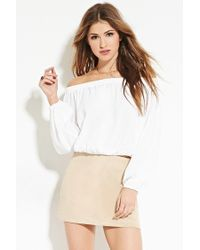 Forever 21 - Natural Faux Suede Mini Skirt - Lyst