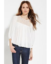 Forever 21 | White Contemporary Lace-paneled Top | Lyst