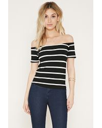 Forever 21 | Green Stripe Off-the-shoulder Top | Lyst