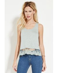 Forever 21 | Gray Embroidered Mesh-hem Top | Lyst