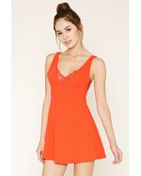 Forever 21 | Orange Eyelash Lace Skater Dress | Lyst