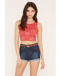 Forever 21 | Red Floral Lace Crop Top | Lyst