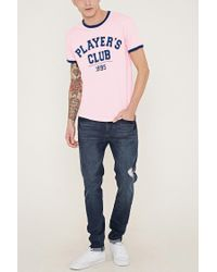 Forever 21 - Blue Players Club Graphic Ringer Tee for Men - Lyst
