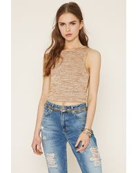 Forever 21 | Natural Marled Knit Crop Top | Lyst