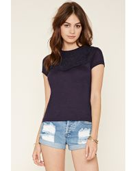 Forever 21 | Black Embroidered Slub Knit Top | Lyst