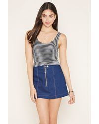 Forever 21 - Black Women's Striped Crop Top - Lyst