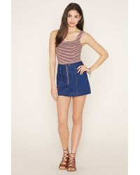 Forever 21 - Blue Women's Striped Crop Top - Lyst
