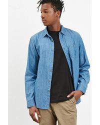 Forever 21 | Blue Classic Chambray Shirt for Men | Lyst