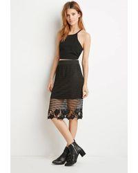 Forever 21   Black Contemporary Floral Crochet Overlay Skirt   Lyst