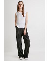 Forever 21 | Black Pinstripe Wide-leg Pants | Lyst