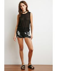 Forever 21 - Black Shadow Stripe Knit Top - Lyst