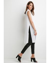 Forever 21 | White Tonal-patterned Longline Shirt | Lyst
