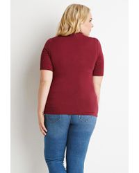 Forever 21 - Purple Plus Size Slouchy Mock Neck Tee - Lyst