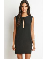 Forever 21 - Black Slit-neck Textured Dress - Lyst