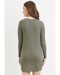 Forever 21 - Green Ribbed Knit Dress - Lyst